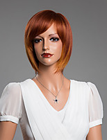 Medium Straight BOB Capless Wigs With Bangs Human Hair Mixed Color 14 Inch
