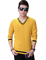 Men's Solid Casual / Work / Formal / Sport / Plus Size PulloverCotton Long Sleeve Blue / White / Yellow / Gray