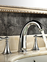 Contemporary / Modern  Ceramic Valve Two Handles Three Holes for  Chrome  Bathtub Faucet / Bathroom Sink