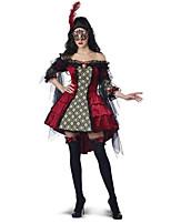 Costumes de Cosplay / Costume de Soirée Vampire Fête / Célébration Déguisement Halloween Rouge ImpriméRobe / Jambières / Masque / Plus