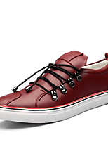 Черный / Красный-Мужской-На каждый день-Кожа / Микроволокно-На плоской подошве-Удобная обувь-Туфли на шнуровке