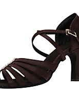 Customizable Women's Dance Shoes Satin Latin / Salsa Sandals / Heels Customized Heel Indoor / Performance Brown