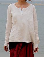 Chemise Femme,Couleur Pleine Décontracté / Quotidien simple Printemps / Automne Manches Longues Col Arrondi Blanc Coton Fin