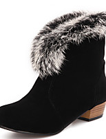 Women's Shoes Chunky Heel Round Toe Ankle Bootie with Fur More Color Available