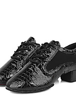 Latin Kid's Dance Shoes Heels Breathable Leather Low Heel Black