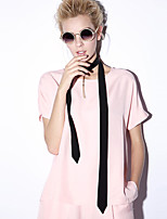 NEW BEFORE  Women's Casual/Daily Simple Summer T-shirtSolid Round Neck Short Sleeve Pink / Green