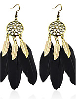 Bohemian Drop Earrings for Women Vintage Bronze Black Feather Earings Fashion Jewelry Long earring boucle d'oreille