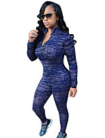 Women's Casual Sports Active Set Pant Patchwork Stand Long Sleeve