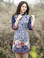 Our Story Women's Going out Chinoiserie Sheath DressFloral Crew Neck Above Knee Long Sleeve Blue Cotton / Polyester