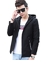 Men's Long Sleeve Casual / Work / Formal / Sport / Plus Size JacketPolyester Patchwork Black / Blue
