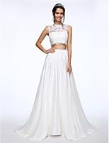 Lanting Bride® A-lijn Bruidsjurk Hofsleep Bateau Kant / Charmeuse met Appliqués / Kralen / Knoop