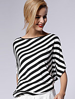 NEW BEFORE  Women's Casual/Daily Simple Summer T-shirtStriped Boat Neck Length Sleeve