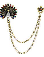 Colorful Rhinestone Peacock Shape Long Chain Brooches