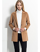 Women's Casual/Daily Simple CoatSolid Deep V Long Sleeve Fall / Winter Brown Lamb Fur Medium