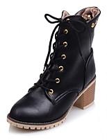Feminino-Botas-Plataforma Inovador Botas de Cowboy Botas de Neve Botas Montaria-Salto Baixo Plataforma-Preto Cinza Amêndoa-Couro