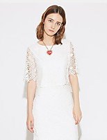 I'HAPPY Women's Formal Simple Spring / Summer Set SkirtSolid Round Neck  Length Sleeve White