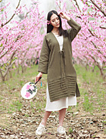 Ramie Cotton Women's Casual/Daily Vintage Spring ShirtSolid V Neck Long Sleeve Green Linen Thin