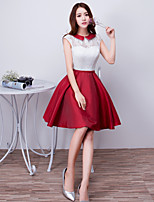 Cocktail Party Dress A-line Jewel Short / Mini Satin with Bow(s) / Lace