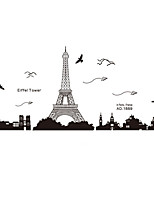 Wall Stickers Wall Decals Happy Tower and Airplance Feature Removable Washable PVC