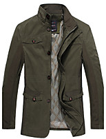 Men's Solid / Patchwork Casual / Work Trench coatCotton Long Sleeve-Black / Green / Yellow