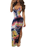 Women's Going out / Party/Cocktail / Club Sexy Bodycon DressPrint Strap Maxi Sleeveless Multi-color Polyester Summer