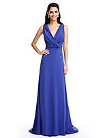 TS Couture® Formal Evening Dress A-line V-neck Sweep / Brush Train Chiffon with Beading / Criss Cross