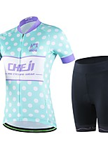 Women's Summer Cycling Blue Polka Dots Short Shirt Bicycle Breathable Quick Dry Jersey Bike 3D Cushion Pad Shorts Suits
