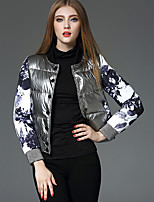 Women's Print Silver Down CoatSimple V Neck Long Sleeve