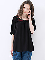 IDYLL ISLAND Women's Casual/Daily Vintage Summer ShirtEmbroidered Square Neck  Length Sleeve Black Cotton / Rayon Thin