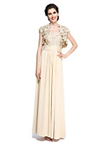 Lanting Bride® Sheath / Column Mother of the Bride Dress - Elegant Ankle-length Short Sleeve Chiffon / Lace with Lace / Ruching