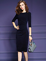 Women's Plus Size /Work Sexy Bodycon / Sheath Dress Solid Knee-length Length Sleeve Blue Polyester /Nylon Spring /Fall