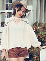 Aporia.As® Damen V-Ausschnitt Lange Ärmel T-Shirt Beige-MZ36003