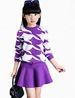 Ensemble de Vêtements Fille de Fleur Décontracté / Quotidien Coton Hiver / Toutes les Saisons / Printemps / Automne Violet / Rouge
