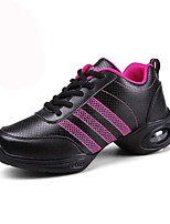 Non Customizable Women's Dance Shoes Leather Leather Dance Sneakers Sneakers Flat Heel Outdoor / Performance Black