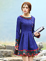 Our Story Women's Going out Vintage Sheath DressJacquard Round Neck Above Knee Long Sleeve Blue Polyester Spring