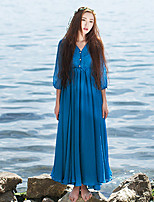 Ramie Cotton Women's Casual/Daily Simple Loose DressSolid V Neck Maxi  Sleeve Blue Polyester Mid Rise Inelastic Medium