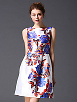STEPHANIE  Women's Going out Sophisticated DressFloral Round Neck Above Knee Sleeveless