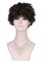 excêntricas perucas sintéticas Curly por mulheres marrom preto peruca afro encaracolado perucas sintéticas do cabelo barato para mulheres