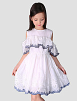 Girl's Casual/Daily Patchwork DressCotton / Polyester Summer / Spring White