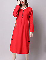 Women's Casual/Daily Simple Sweet Loose Dress,Embroidered Round Neck Midi Long Sleeve Blue / Red Cotton Fall
