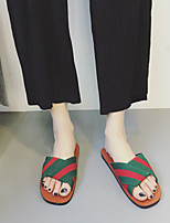 Women's Slippers & Flip-Flops Spring Summer Mary Jane Canvas Outdoor Flat Heel Others Green Walking