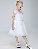 A-line Knee-length Flower Girl Dress - Tulle Sleeveless Jewel with Appliques
