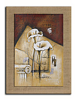 Oil Painting Modern Abstract Lily Hand Painted Natural Linen With Stretched Frame