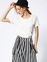 NEW BEFORE  Women's Casual/Daily Simple Summer T-shirtSolid Round Neck Short Sleeve