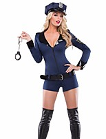 Cosplay Costumes Police Movie Cosplay Blue Solid Leotard/Onesie / Hat Halloween / Christmas / New Year Female Polyester