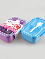 Plastic Housewares Simple Lunch Box with Spoon