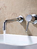 Contemporary Wall Mounted Widespread with  Ceramic Valve Single Handle Two Holes for  Chrome  Bathroom Sink Faucet