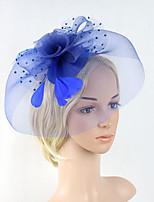 Women's Feather / Net Headpiece-Wedding / Special Occasion Party Fascinators 1 Piece Black / Beige / Blue