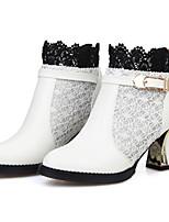Mujer-Tacón Robusto-Botas a la Moda-Botas-Exterior Oficina y Trabajo Informal-Semicuero-Negro Rojo Blanco Beige