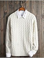 Мужской Однотонный / Горошек Пуловер На каждый день / Для офиса / Для занятий спортом / Большие размеры,Акрил / Полиэстер,Длинный рукав,
